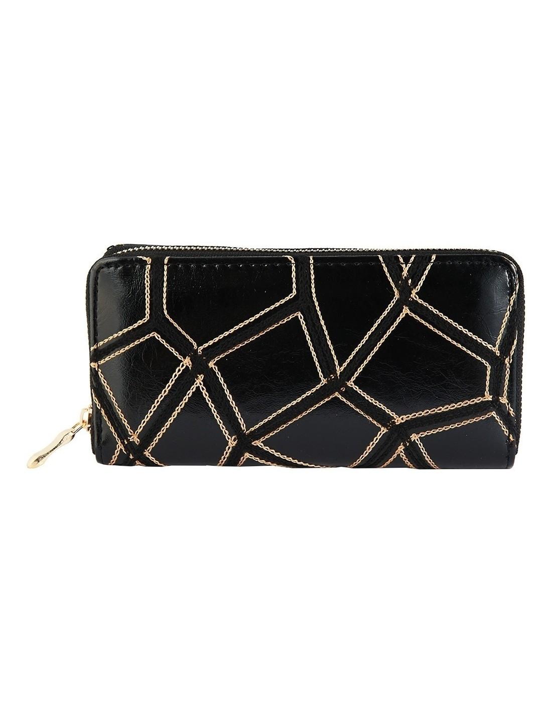 Fekete színű női pénztárca arany színű varrással - Méret 20 x 10 cm -  494073751001 f79a725a69