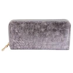 Nagyméretű ezüst színű női pénztárca - Méret 19 x 10 cm - 494035001506