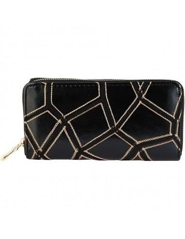 Fekete színű női pénztárca arany színű varrással - Méret 20 x 10 cm - 494073751001