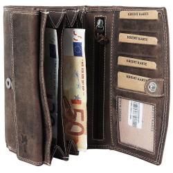 Accent valódi bőr nagyméretű pénztárca - BARNA - P495710957001-B