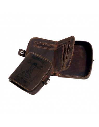 Vitruvian Man logós valódi bőr doboz pénztárca - Vienna - LandLeder - 260