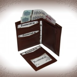 Pénztárca és irattárca valódi bőrből - BARNA - 703