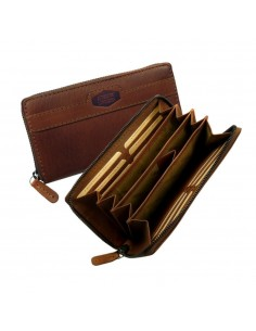 Landleder bőr nagyméretű divatos pénztárca - Méret 19 x 10 x 2 cm - BARNA