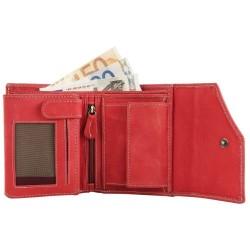 Hárombahajtott valódi bõr pénztárca - 13x10 cm - PIROS - 3000075-002