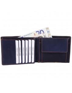 Akzent valódi bőr pénztárca - 12x10 cm - KÉK - 495837503003