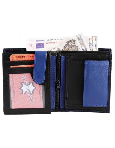 Monopol háromba hajtott valódi bőr pénztárca - FEKETE - KÉK - 495040012054