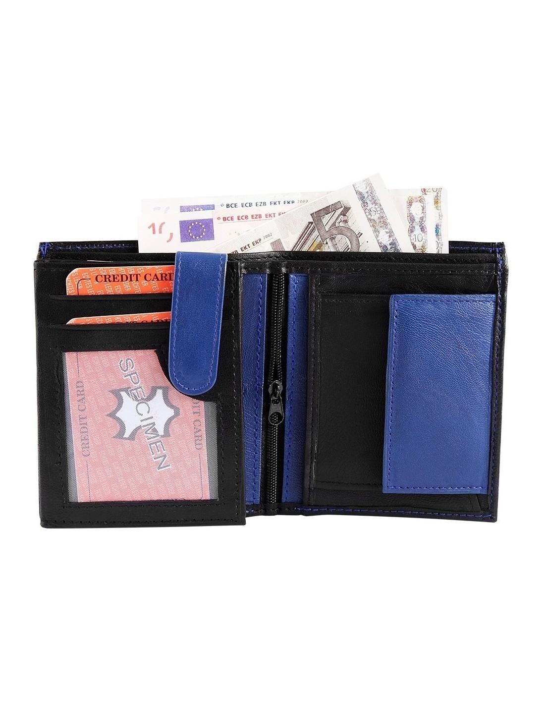 Monopol háromba hajtott valódi bőr pénztárca - FEKETE - KÉK - 495040012054 e1c626604e